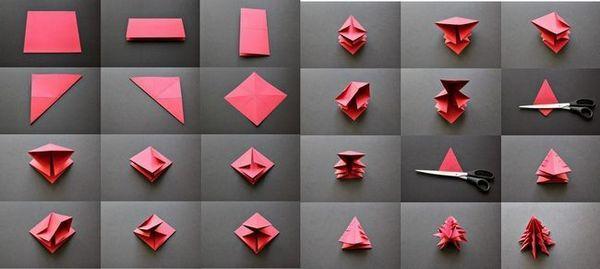 Осъществяване на коледно дърво в оригами техниката на хартия