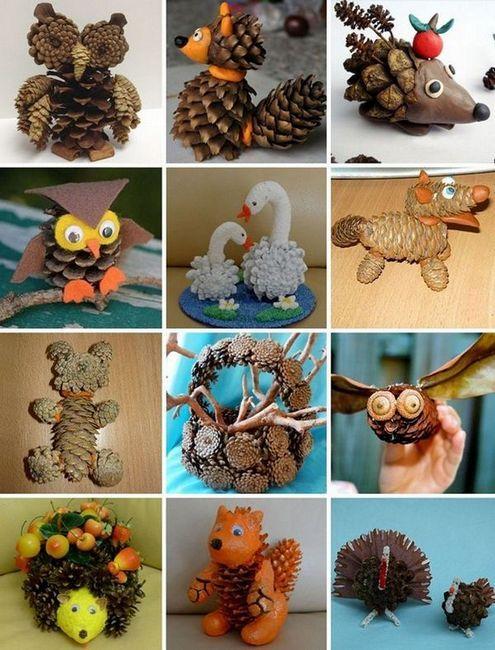 Различни занаяти, изработени от конуси със собствени ръце