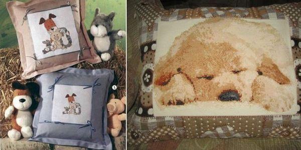 Възглавница с бродерия под формата на куче