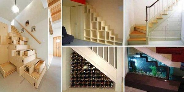 Съхранение под стълбите са някои оригинални идеи
