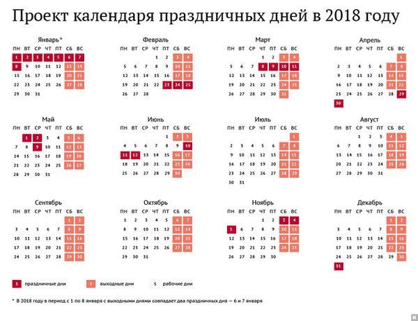 Производствен календар за 2018 година