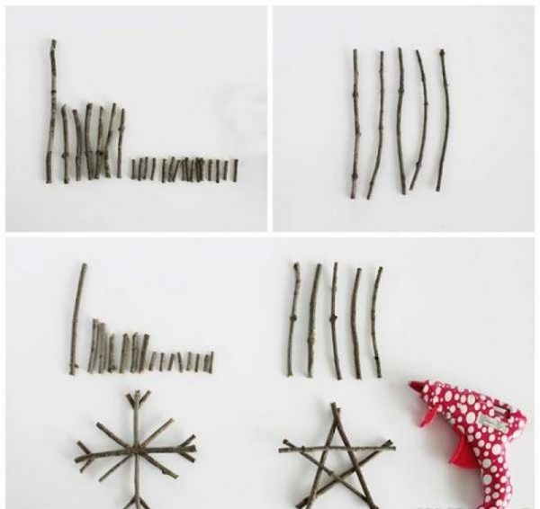 Направете снежинки от клонки