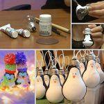 Снимка 44: Коледни играчки пингвини от електрически крушки