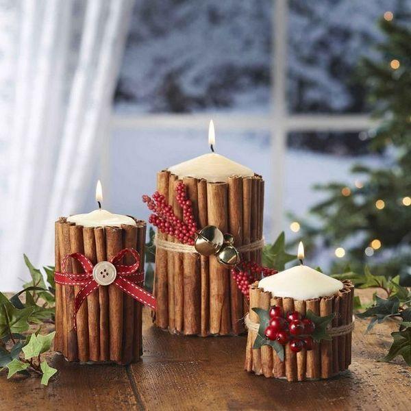 Декориране на свещи с пръчици от канела