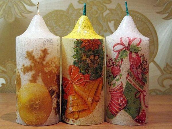 Декупаж на свещи за Нова година