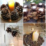 Снимка 56: Декорация на свещи с борови шишарки
