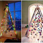 Снимка 70: Необичайни коледни елхи от стълби, гирлянди и играчки