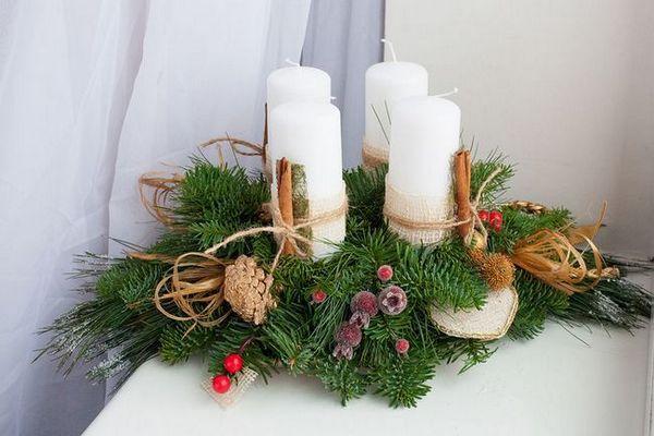 Иглолистни композиции със свещи
