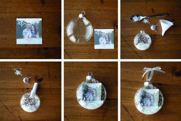 Процесът на декориране на Новогодишната топка с снимки