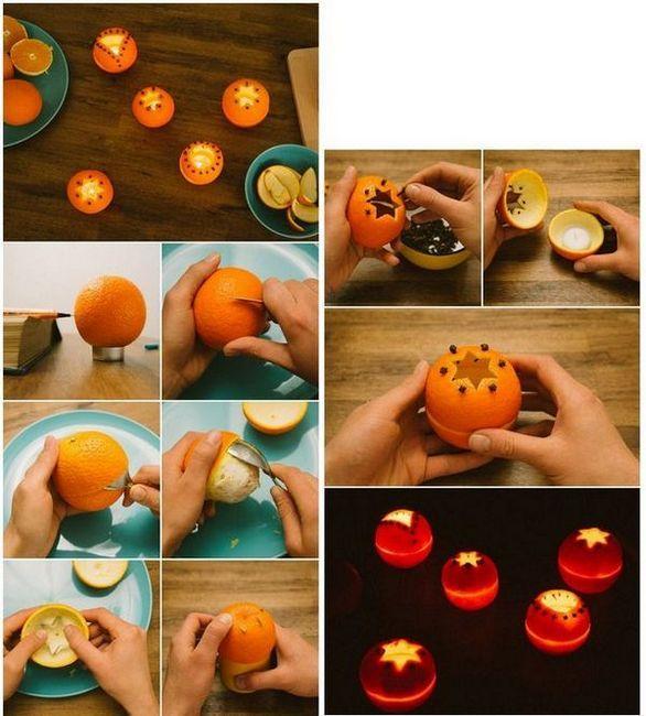 Свещници от портокали със собствени ръце