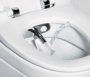 Окачена тоалетна, допълнена с функция биде