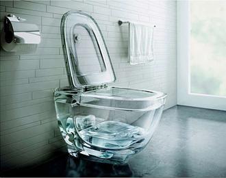 Стъклена висяща тоалетна чиния