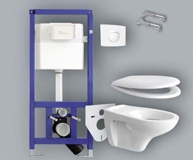 Монтиране на окачена тоалетна чиния на предварително инсталирана инсталация