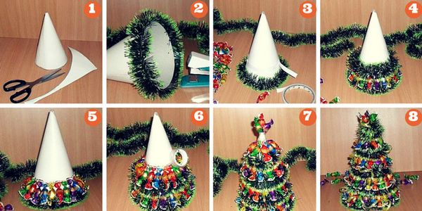 Новогодишно дърво, хартия и бонбони