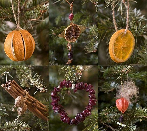 Новогодишни играчки от плодове и сушени плодове