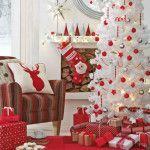 Снимка 39: Декориране на къща в бели и червени тонове