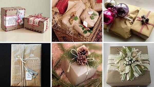 Разнообразие от новогодишни декори за опаковане на подаръци