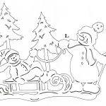 Снимка 51: Шаблон с коледни елхи и снежни хора
