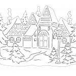 Снимка 69: Шаблон за зимен пейзаж с къща
