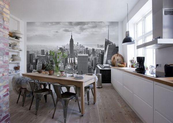 Стенна хартия като град в кухнята