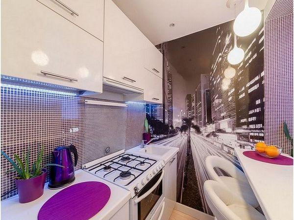 Фото тапети в кухнята за разширяване на пространството