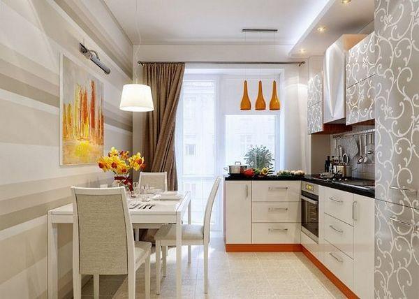 Светли тапети за малка кухня