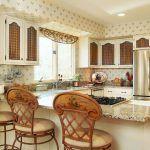 Снимка 54: Бежов рустик тапет в кухнята