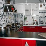 Снимка 56: Черно-бели тапети в кухнята