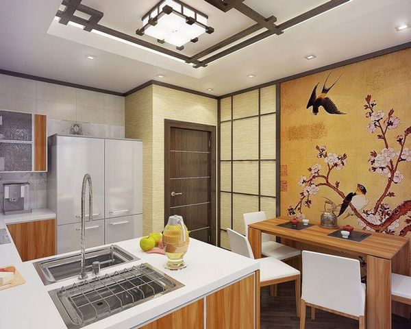 Азиатски печат на тапети в кухнята