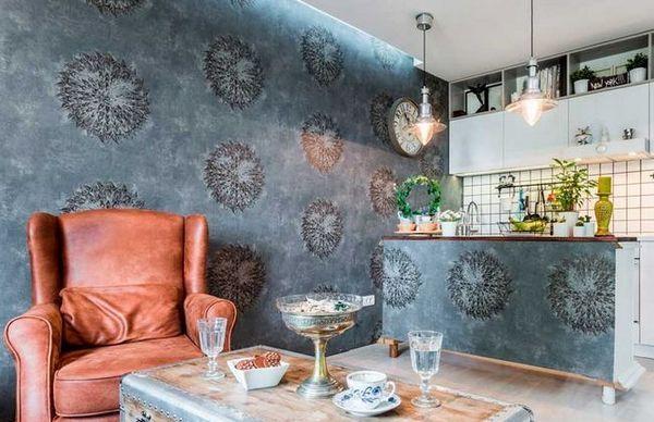 Тапети с голяма картина в кухнята