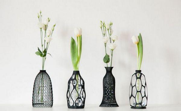 Отпечатани 3d вази, които дават нов живот на старите бутилки