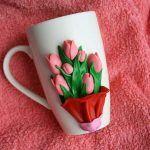 Снимка 71: Декорация на чаши до 8 март полимерна глина
