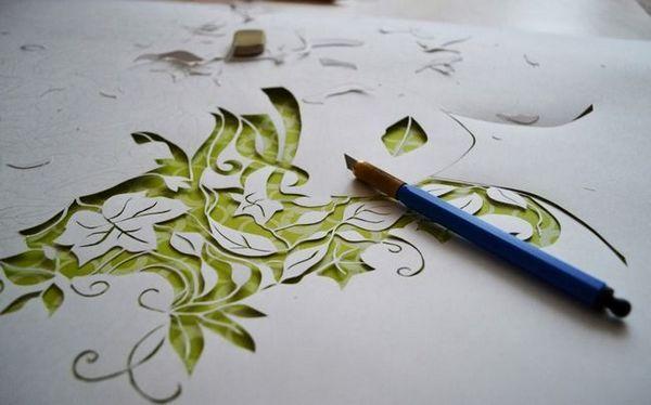 Изкуството на рязане на отворени шарки от хартия