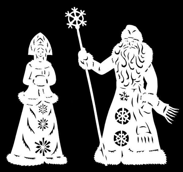 Шаблон на Дядо Коледа и Снежанка