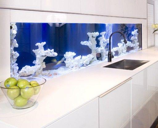 Вграденият кухненски аквариум достига три метра дължина и удивява въображението си с невероятни снимки на подводния свят