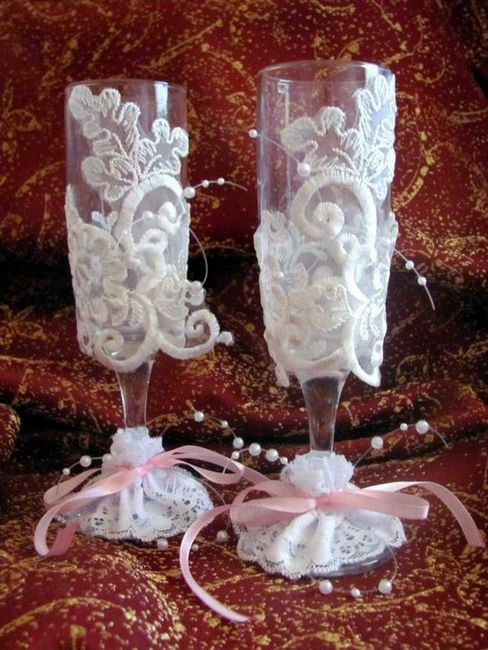 декорация с дантела сватбени очила