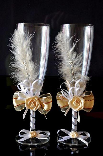 Декорация на сватбени очила с пера