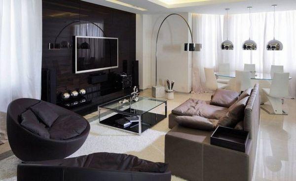 Телевизор на стената във вътрешността на дневната, спалня или кухня идеи, препоръки, снимка