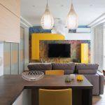 Снимка 17: Дизайн на стената под телевизора