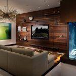 Снимка 18: Ламинат на стената с телевизор