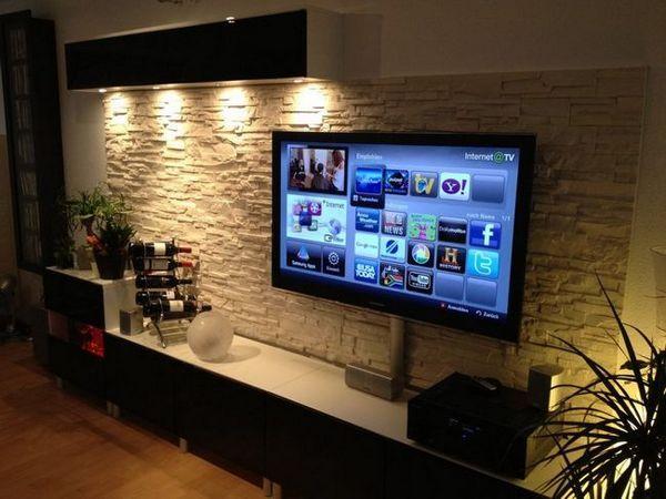 Вътрешността на всекидневната телевизор в стената