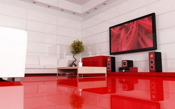 Модерен интериор на хола с телевизор
