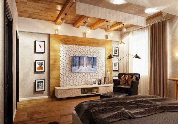 Телевизор в спалнята с интериорни елементи