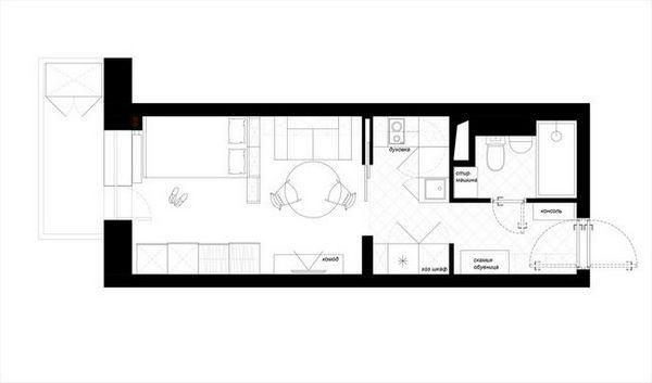 Дизайнът на кухненския план е 12 квадратни метра