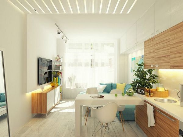 Кухненски дизайн 12 кв. М. м с хол