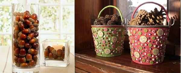 Как да украсим една къща през есента: вази с естествен декор