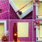 Снимка 52: Декорация на рамка с хартиени цветя
