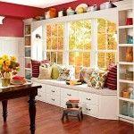 Снимка 30: Червени стени в кухнята