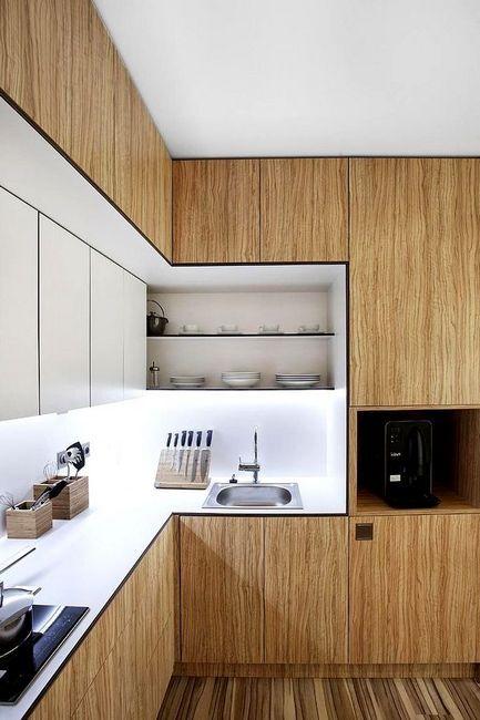 Вградена кухня от дървена снимка