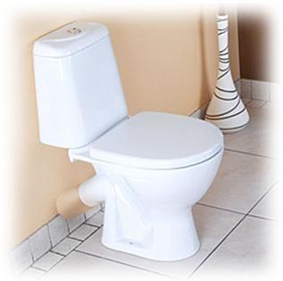 Тоалетна чиния с изход, разположен под определен ъгъл